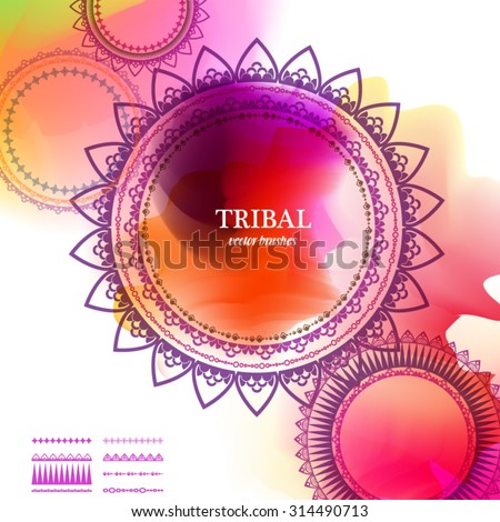 Geometric circle element made in vector with set of elements to make your  own brush. Vintage decorative elements. Watercolor background. Islam, Arabic, Indian, Tribal motifs.  - stock vector