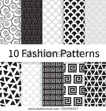 10 Geometric Fashion different vector seamless patterns (tiling). Endless texture can be used for wallpaper, pattern fills, web page background, textures. Set of monochrome geometric ornaments. - stock vector
