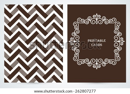 Geometric Journaling cards.  Frame with copy space for text in trendy mono line style - art deco. Monogram logos set graphic design. Vector. - stock vector