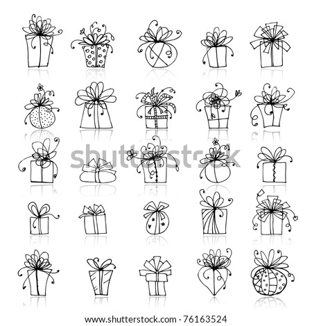 25 gift box icons for your design - stock vector