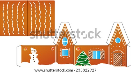 Gingerbread  house folded model paper. Vector illustration - stock vector