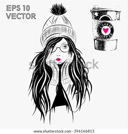 girl and coffee - stock vector