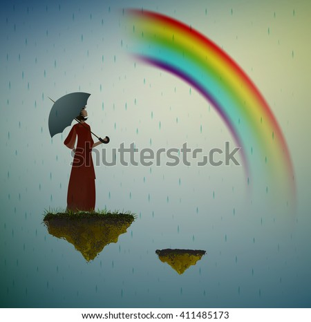 girl holding umbrella and looking at the rainbow, life on the on flying rock, under the rain and in the dream, vector - stock vector