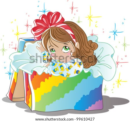 Girl in box - stock vector