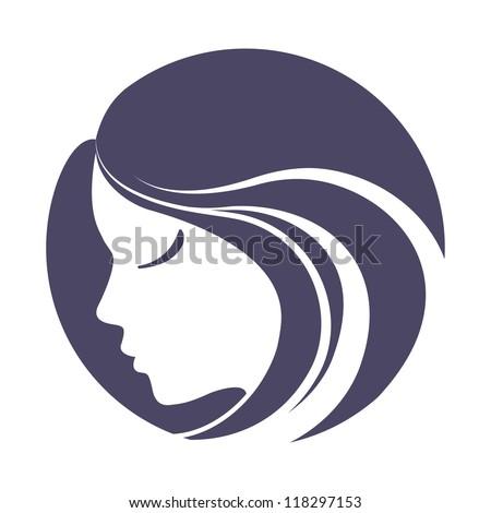 Girl portrait . Vector silhouette icon, monochrome - stock vector