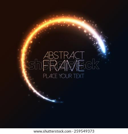 Glittering star dust circle frame. Vector - stock vector