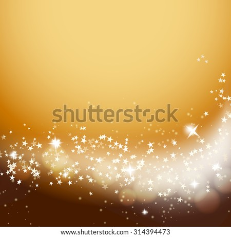 glittering stars flowing orange background - stock vector