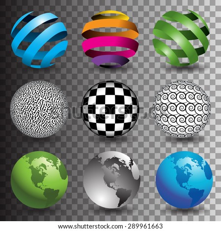 9 globes in editable vector format  - stock vector