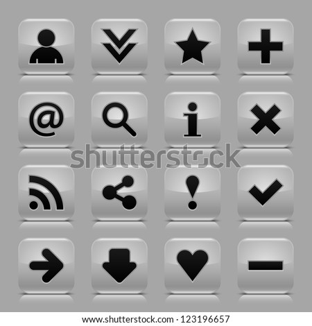 16 glossy gray button with black basic sign. Rounded square internet web icon with black shadow and reflection on light gray background. Vector illustration clip-art design elements in 8 eps - stock vector