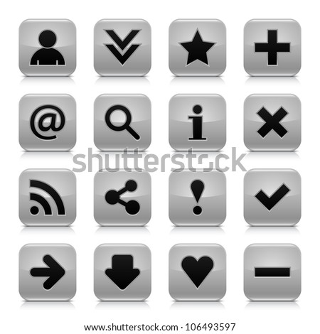 16 glossy gray button with black basic sign. Rounded square shape internet web icon with dark shadow and gray reflection on white background. This vector illustration design elements saved 8 eps - stock vector