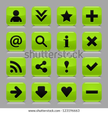 16 glossy green button with black basic sign. Rounded square internet web icon with black shadow and reflection on light gray background. Vector illustration clip-art design elements in 8 eps - stock vector