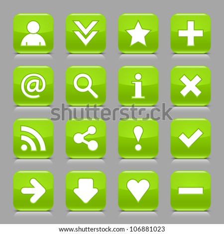 16 glossy green button with white basic sign. Rounded square shape internet web icon with black shadow and reflection on light gray background. This vector illustration design elements saved 8 eps - stock vector