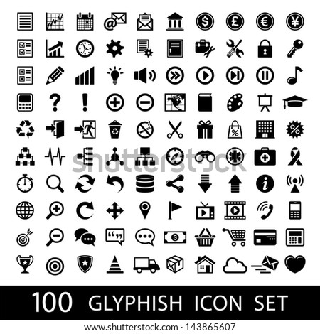 100 Glyph Icon Set - stock vector