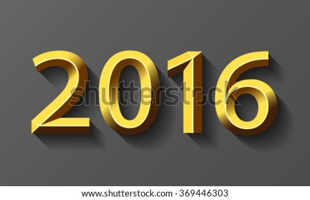 2016 gold bevel year, vector. - stock vector