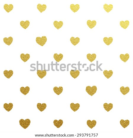Gold glittering seamless pattern of hearts on white background. - stock vector