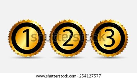 1, 2, 3 Gold Label Vector Illustration EPS10 - stock vector