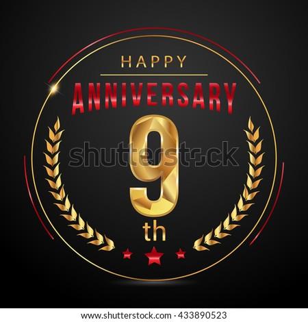9 golden anniversary logo, low poly design number - stock vector