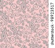 Graceful  hand drawn curlicues and paisley elements vector seamless pattern in light pink and grey - stock vector