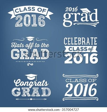 2016 Graduation Vector Set   Hats Off To The Grad Congrats, Celebrate, High School / College Graduation Vector Set - stock vector