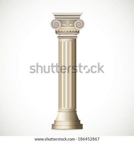 Greek Column isolated on white background. Vector - stock vector