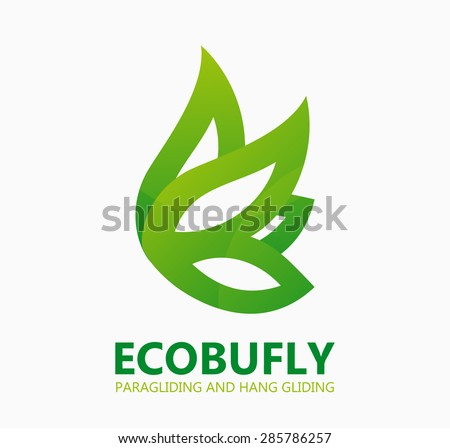 Green eco butterfly logo or icon - stock vector