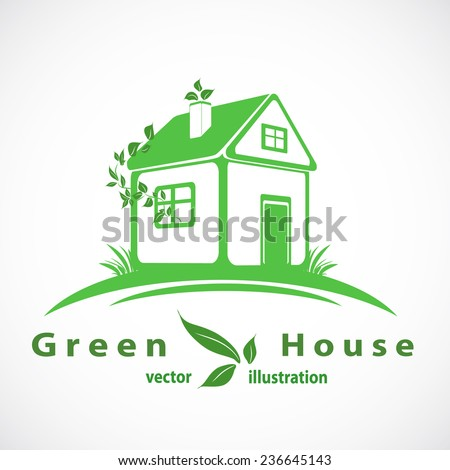 Green house with leaves logo. Eco home. eps10 vector - stock vector