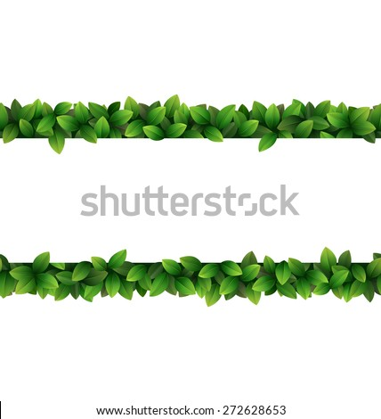 Green leaves seamless frame isolated on white background - stock vector