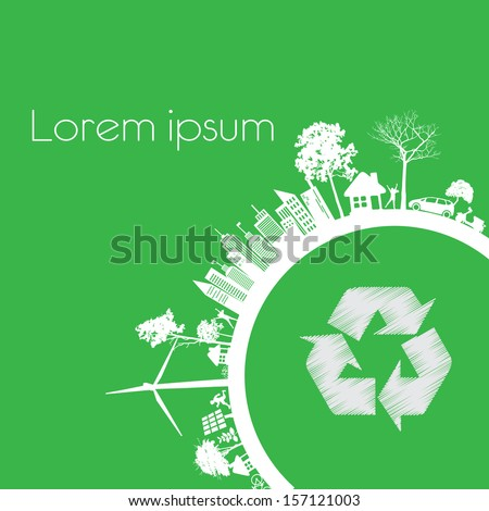 Green modern city living concept. and ECO concept  - stock vector