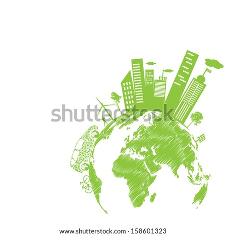 green modern city living concept and eco concept stock vector. Black Bedroom Furniture Sets. Home Design Ideas