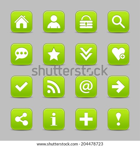16 green satin icon with white basic sign on rounded square web button with black shadow on gray background. Vector illustration internet design element save in 8 eps - stock vector