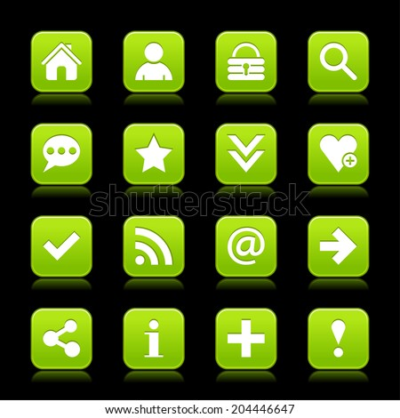 16 green satin icon with white basic sign on rounded square web button with color reflection on black background. This vector illustration internet design element save in 8 eps - stock vector