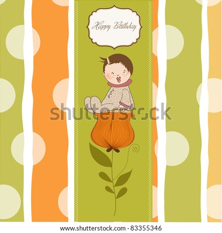 greeting card with a baby sitting on a flower - stock vector