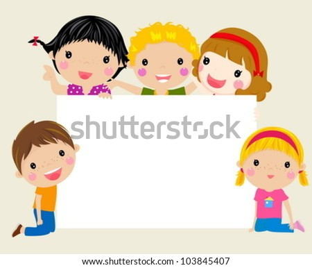 group of kids and banner - stock vector