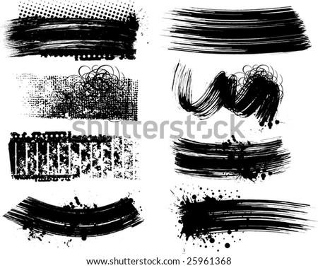 8 Grunge brushes line - stock vector