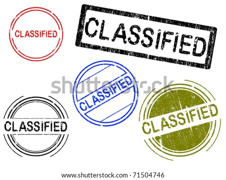 5 Grunge effect Office Stamp with the word CLASSIFIED in a grunge splattered text. (Letters have been uniquely designed and created by hand) - stock vector