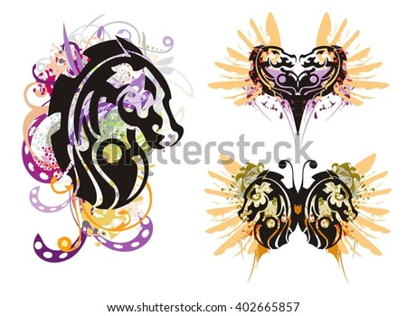Grunge horse head. Tribal horse head splashes, grunge horse heart and grunge horse butterfly with blood drops - stock vector
