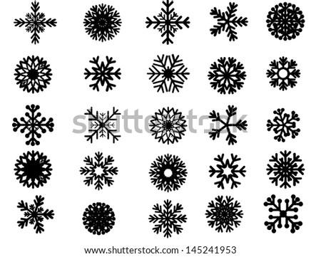 Grunge snowflake set vector illustration - stock vector
