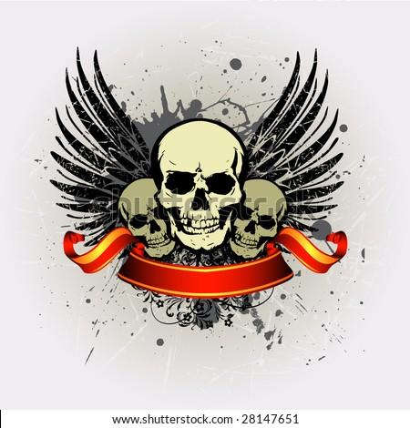 3 Grunge vintage skull emblem with Ribbon 2 - stock vector