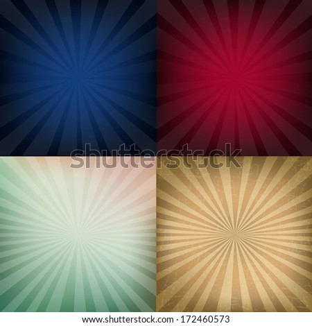 4 Grunge Vintage Sunburst Backgrounds, With Gradient Mesh, Vector Illustration - stock vector