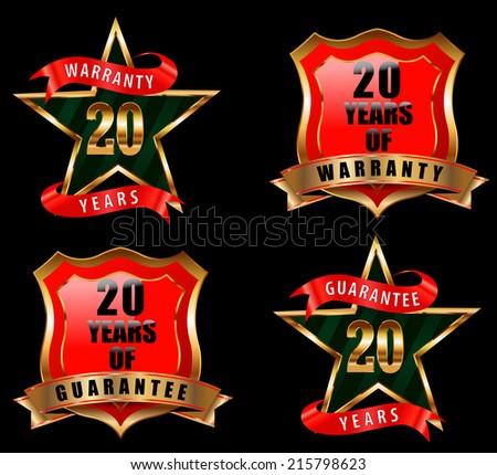 20 guarantee and warranty badge, guarantee sign, warranty label - vector eps 10 - stock vector
