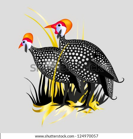 guineafowl a couple of chickens against the grass and the village landscape graphics drawn - stock vector