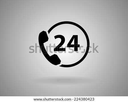 24h support icon, vector illustration - stock vector