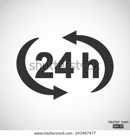 24 h vector icon - stock vector