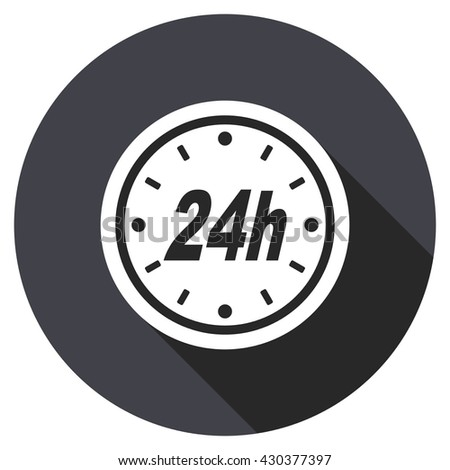 24h vector icon, circle flat design internet button, web and mobile app illustration - stock vector