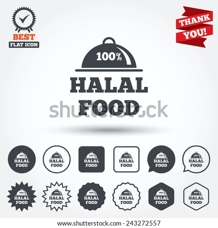 100% Halal food product sign icon. Natural muslims food symbol. Circle, star, speech bubble and square buttons. Award medal with check mark. Thank you ribbon. Vector - stock vector