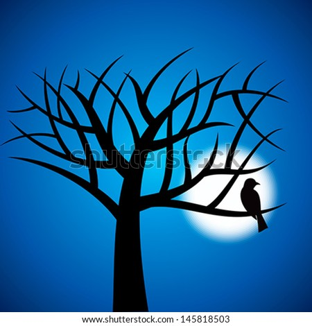 Halloween background with trees and moon  - stock vector