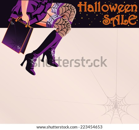 Halloween sale shopping greeting postcard, vector illustration - stock vector