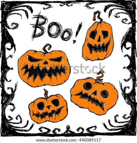 Halloween vector set on white background. Creepy pumpkins scare: Boo! Pumpkin, frame and letters. Handmade are made black ink. This useful to poster, card,  invitation, sticker for Halloween party.  - stock vector