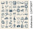 49 hand drawing doodle icon set, travel theme - stock vector