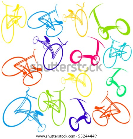 Hand drawn bicycle Doodles - stock vector